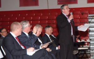 Jim Henneberry, a member of the IDEA executive board, asks for more information following a team presentation. Each potential company had four minutes to present and then participated in a two minute question and answer session.