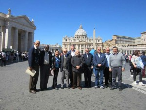Above: the Marist delegation at the Vatican request the opening of Basilio Rueda's cause.