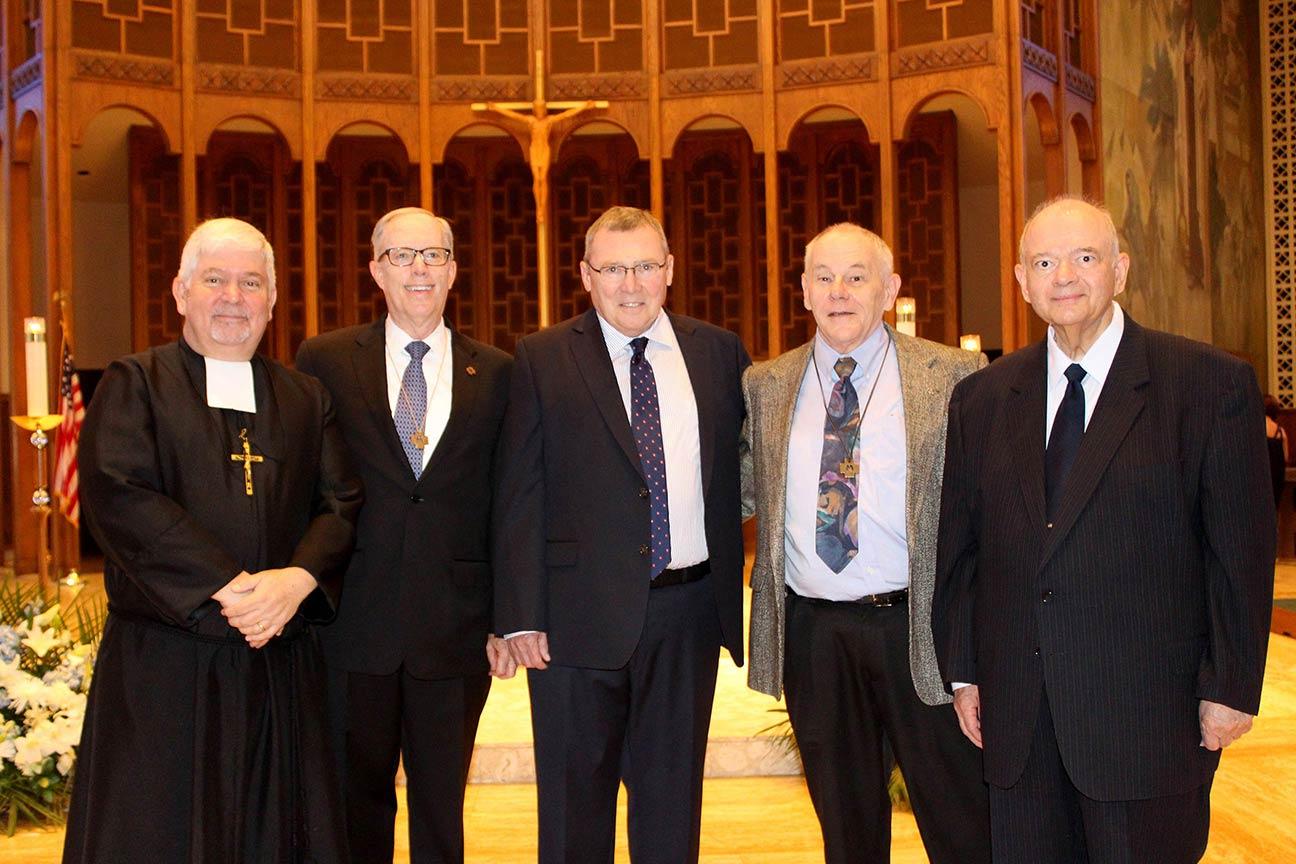 From left to right: Brothers Patrick McNamara, Provincial, John Klein, Sean Sammon, Robert Warren, Joseph Herrera.